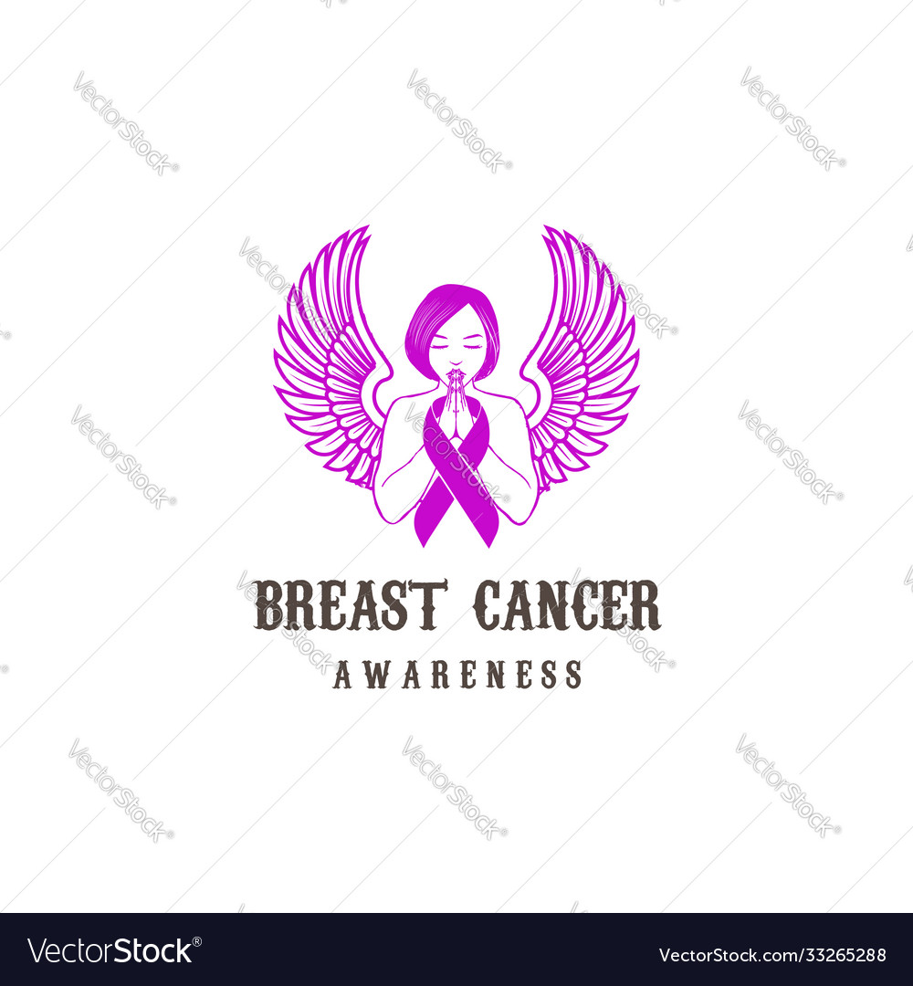 Woman angel lady wing with pink ribbon for breast