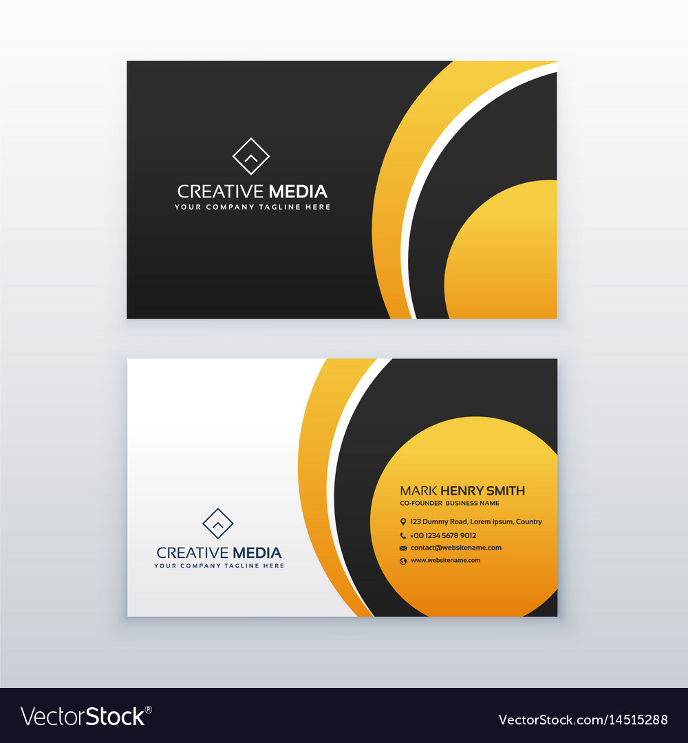 Yellow and black professional business card