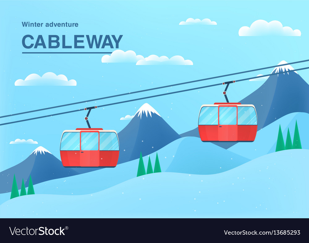 Cable car with place for text