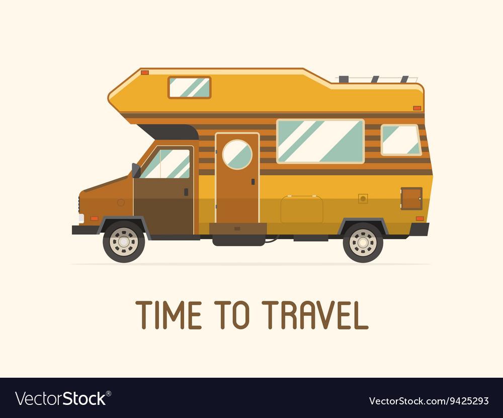 Camping Trailer Family Traveler Truck Flat Style