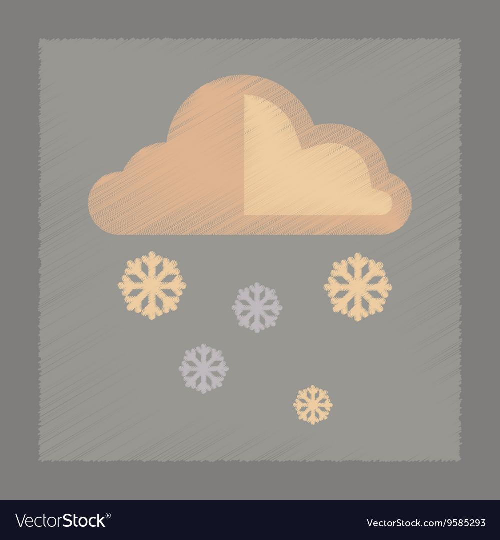 Cloud with snow and rain icon flat style