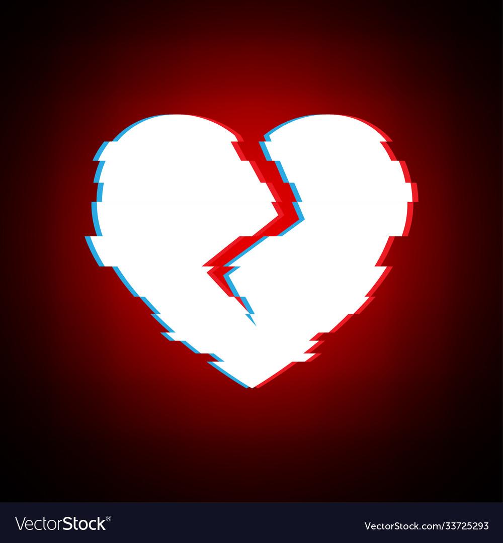 Glitch heart broken distorted love on modern