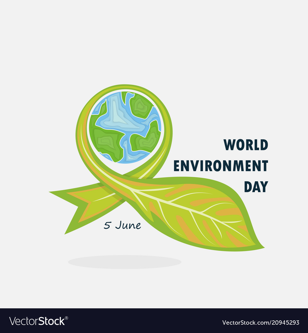Globe and leaf sign world environment day concept
