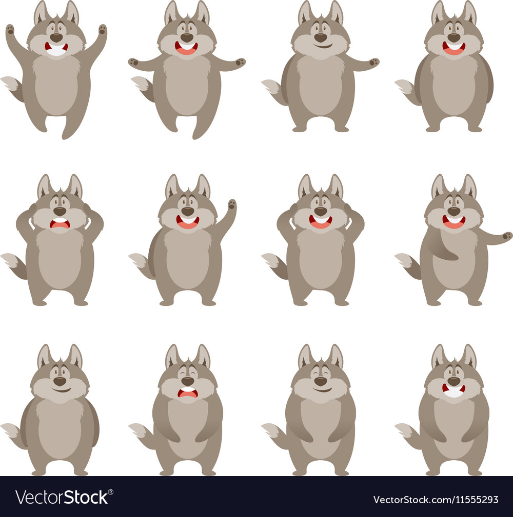 Set of flat wolf icons