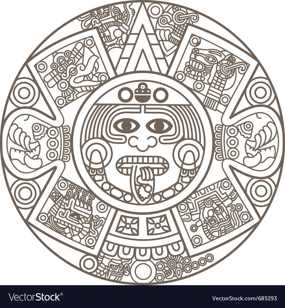 Stylized Aztec Calendar Royalty Free Vector Image
