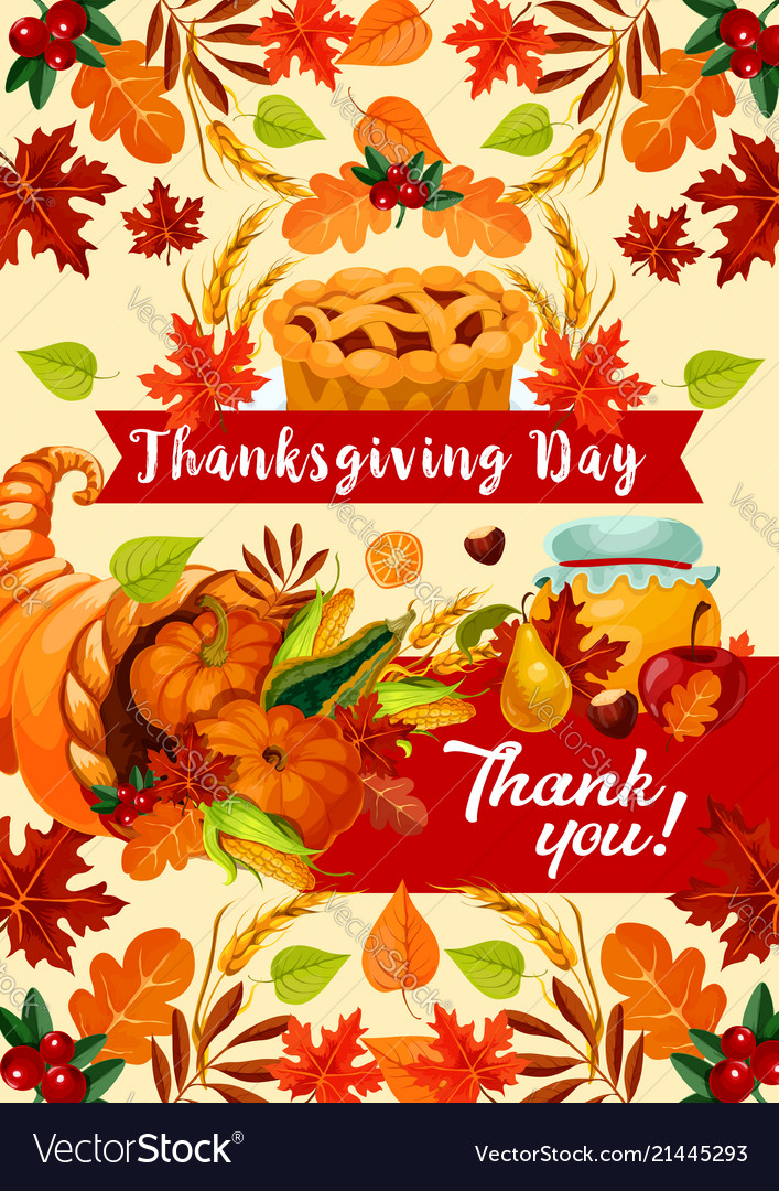 Thanksgiving day autumn holiday greeting banner vector image m4hsunfo