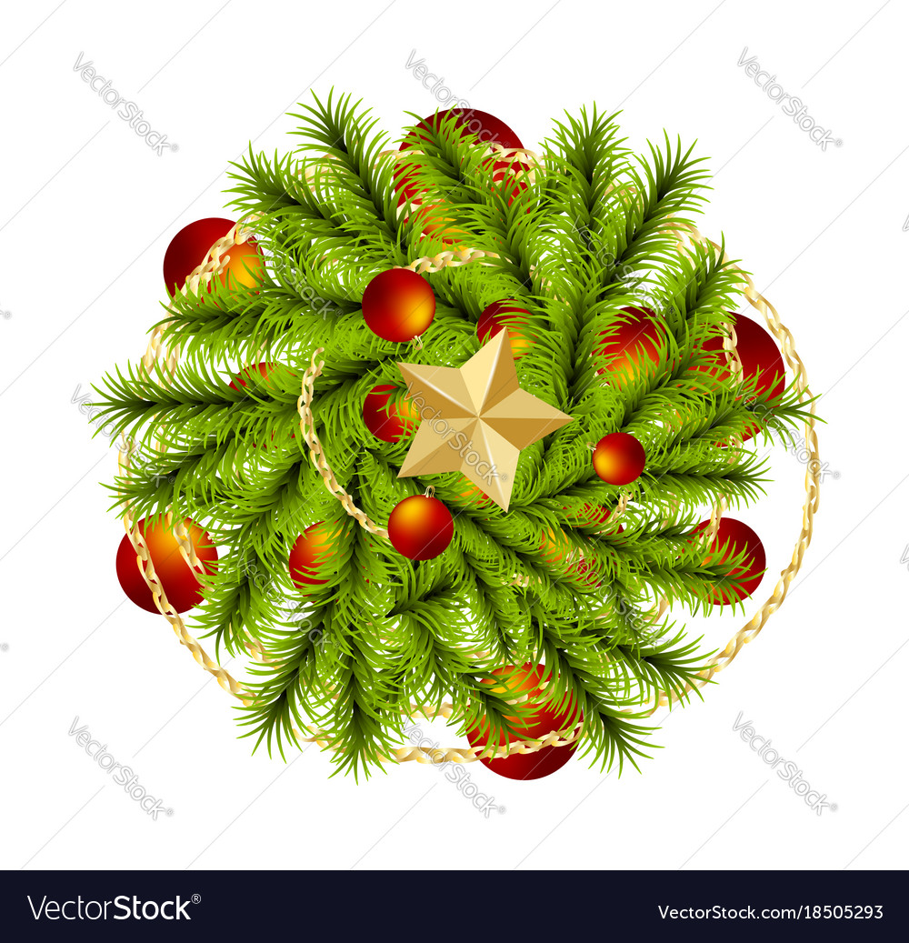 Christmas Tree Top View.Top View Realistic Christmas Branch Pine Tree