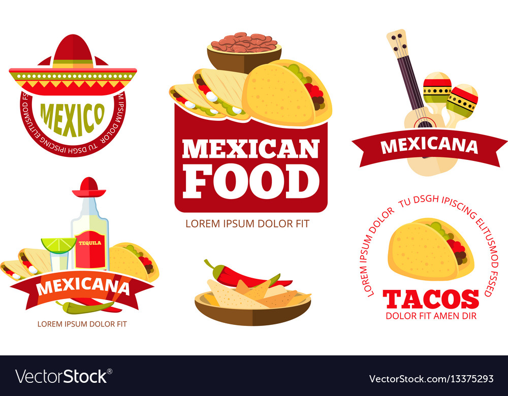 Vintage mexican restaurant graphics tacos