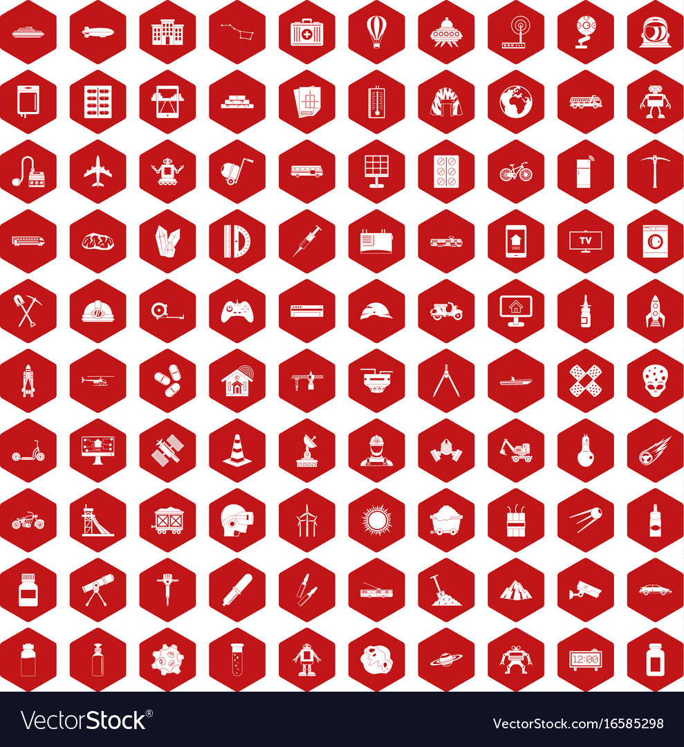 100 development icons hexagon red