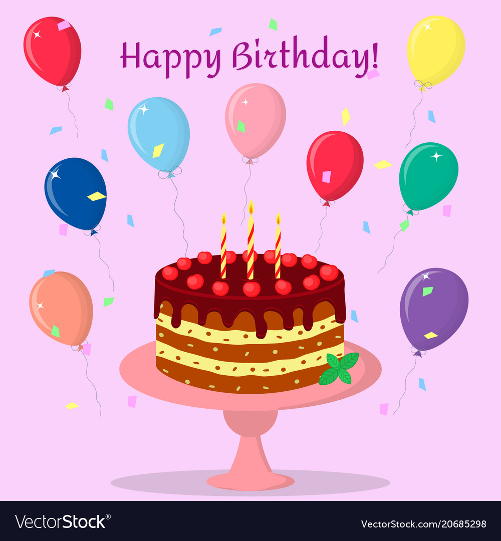 Birthday cake with chocolate cream cherries and vector image