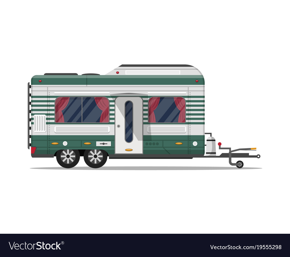 Camping trailer caravan isolated icon