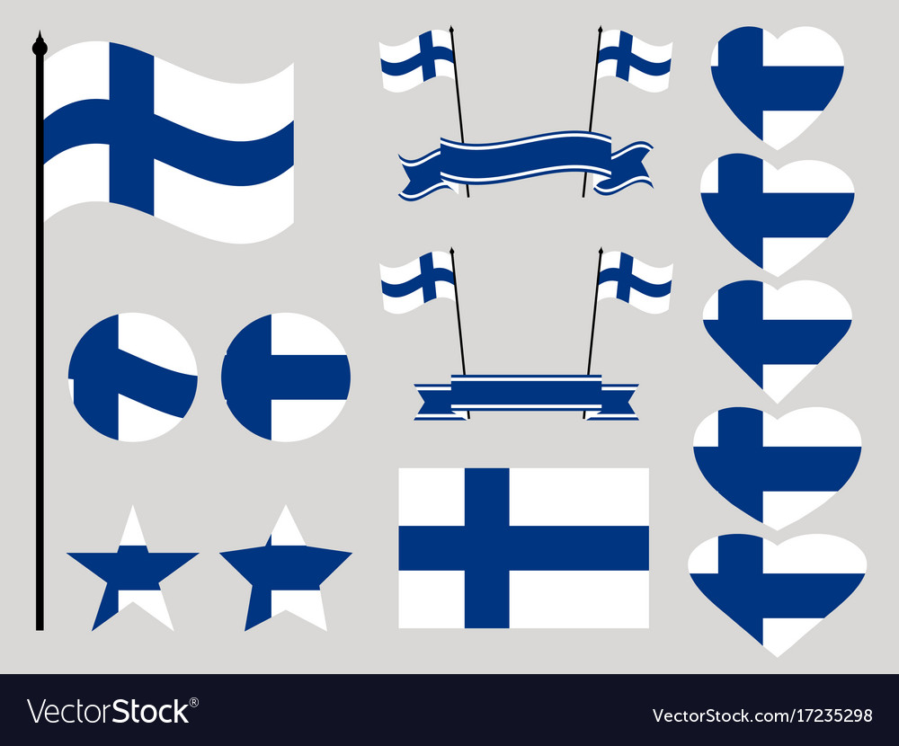 Finland flag set collection of symbols heart