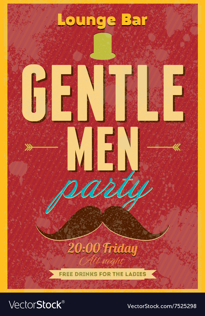 Gentlemen Party Typography poster