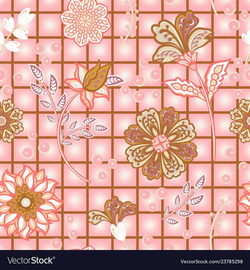 Hand draw blooming garden flowers on window check
