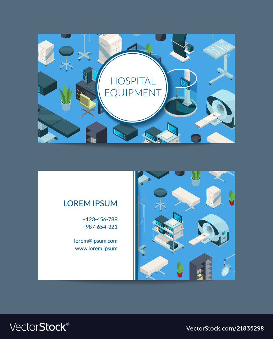 Isometric hospital icons business card