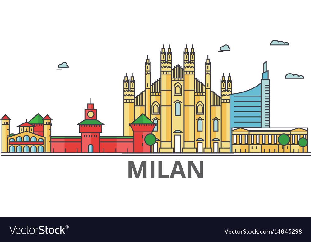 Milan city skyline buildings streets silhouette