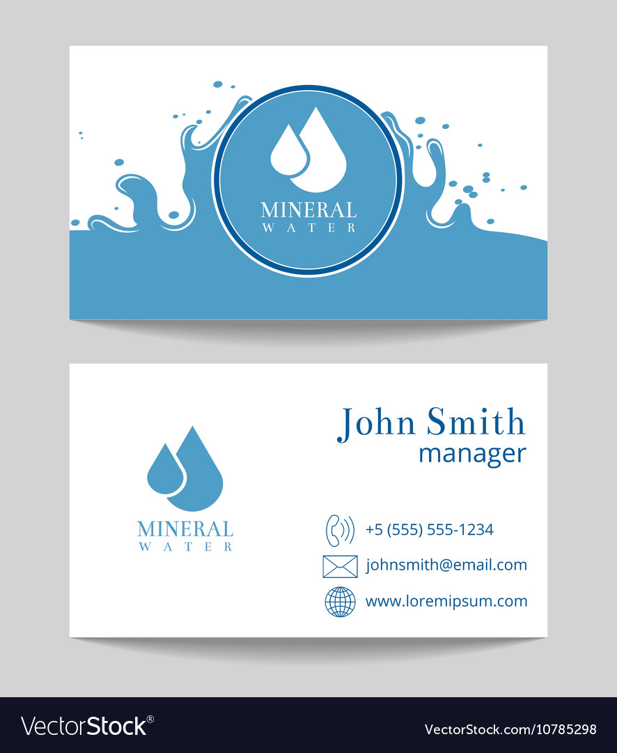 Mineral water delivery business card template Vector Image