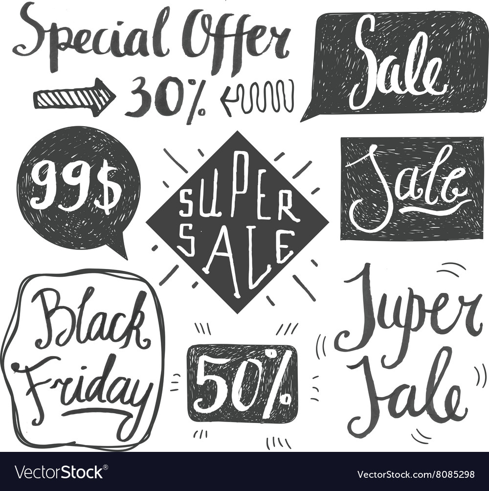 Sale hand lettering Shop dicount grunge style vector image