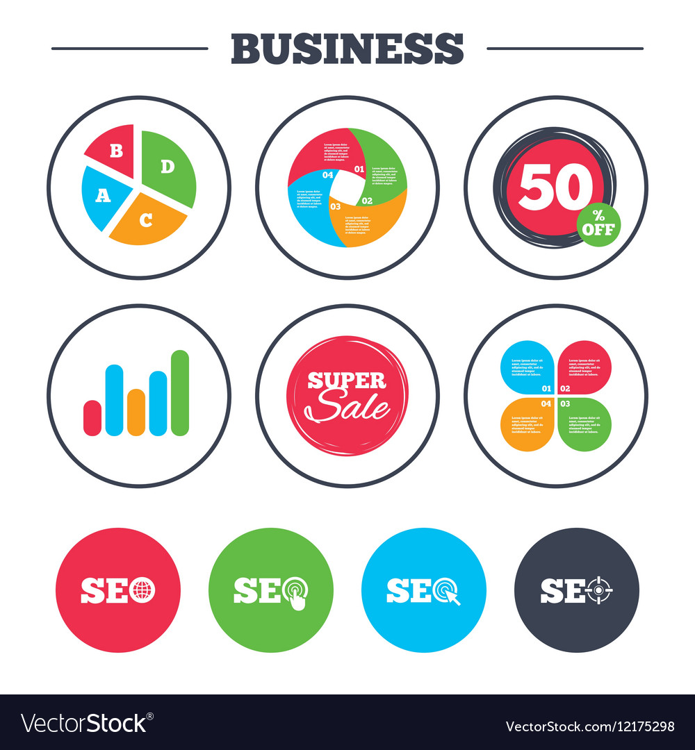 Seo Icons Search Engine Optimization Symbols Vector Image