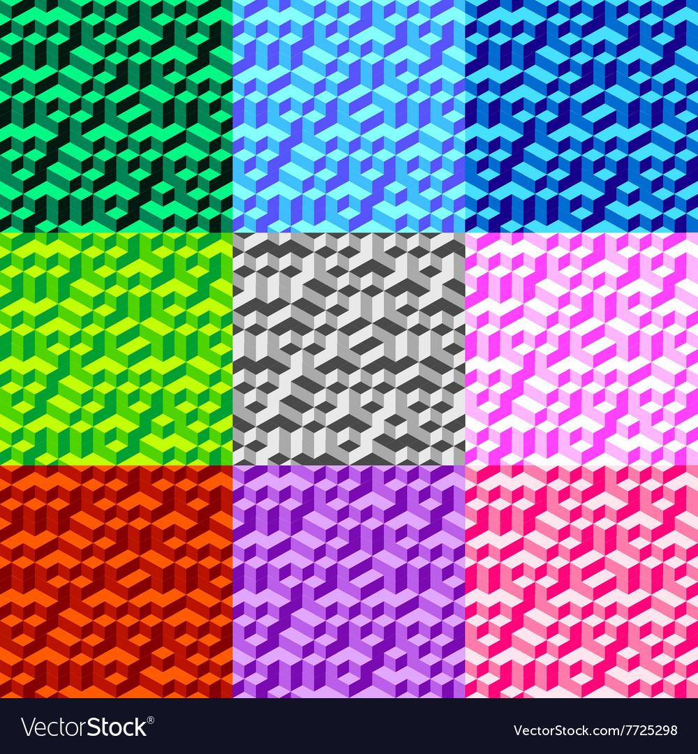 Set Seamless Geometric Volume Pattern Background