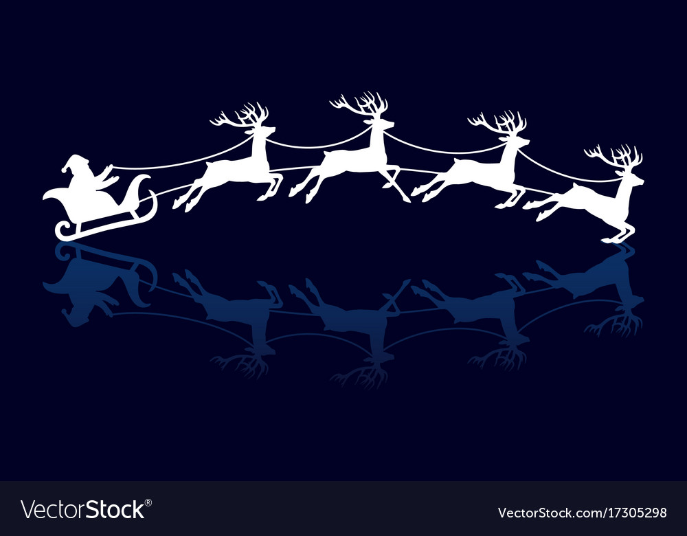Silhouettes of santa and deers