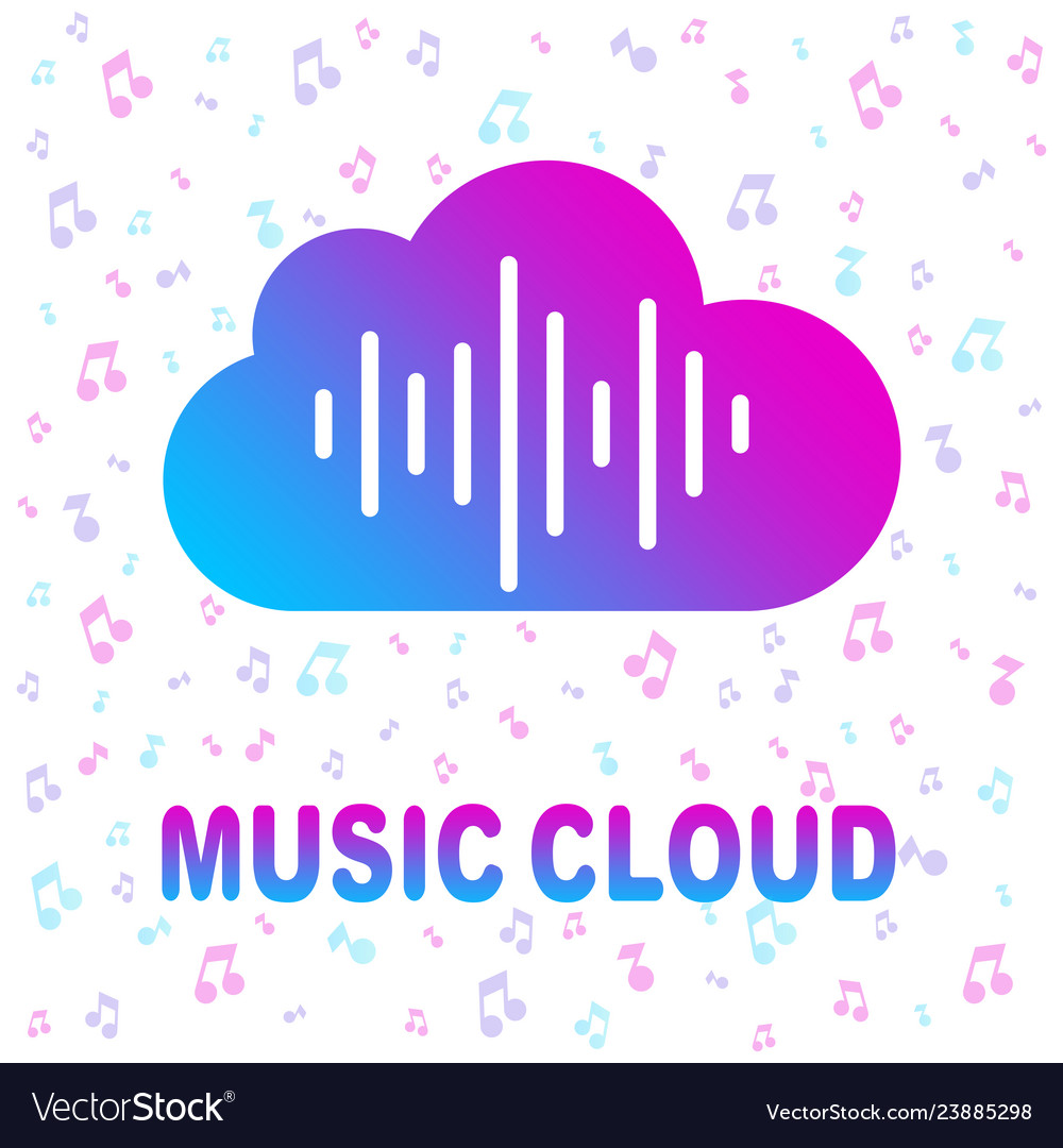 Simple icon with cloud and sound equalizer wave