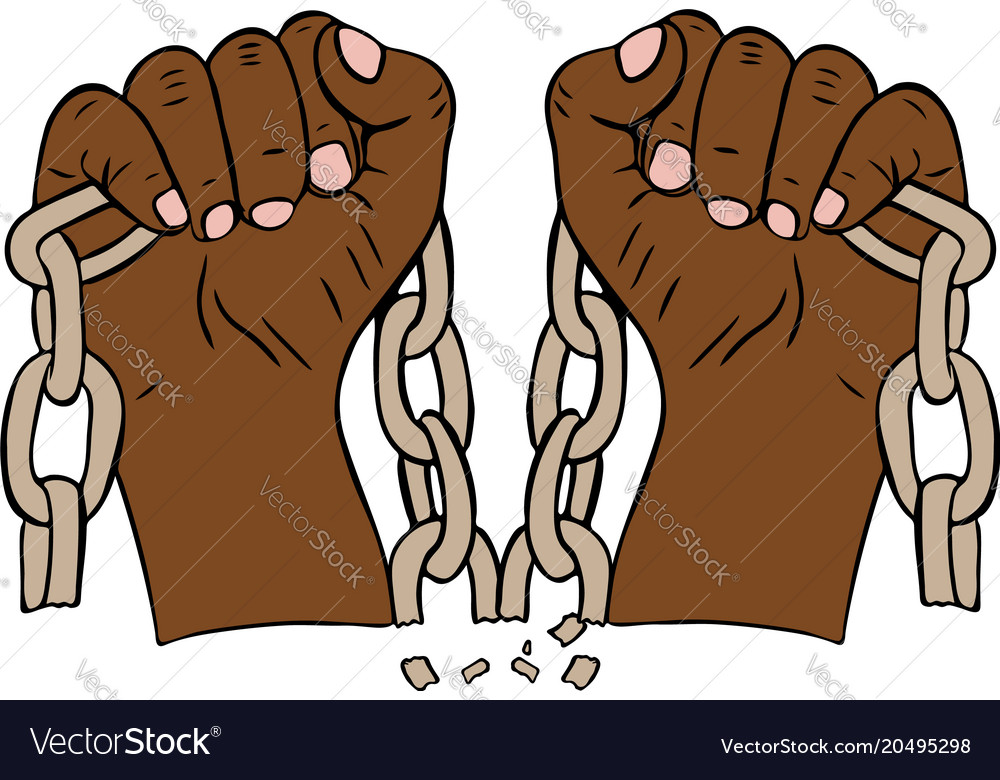 Two male hands holding a torn chain