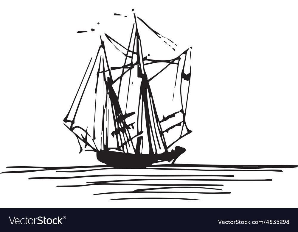 Vintage ship design vector image