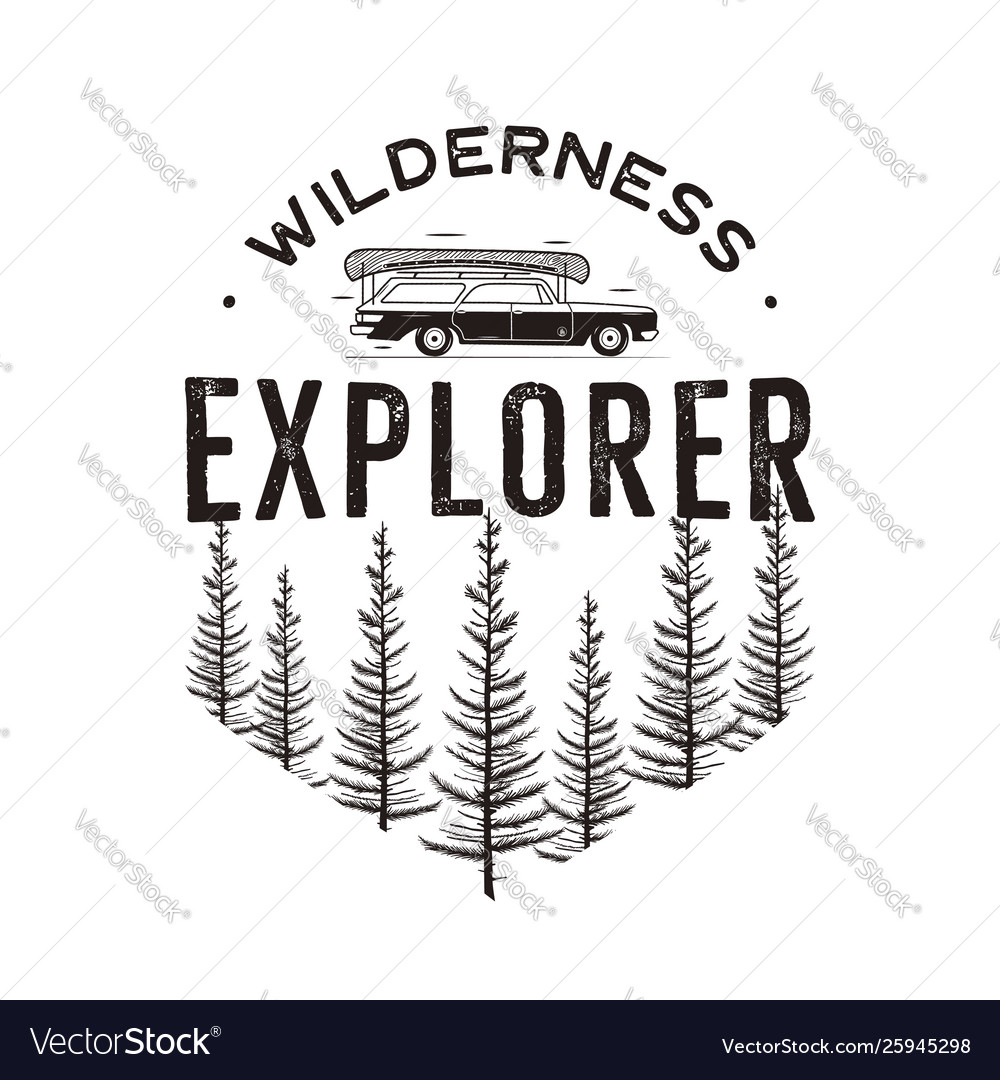 Wilderness explorer logo with camp car and pine