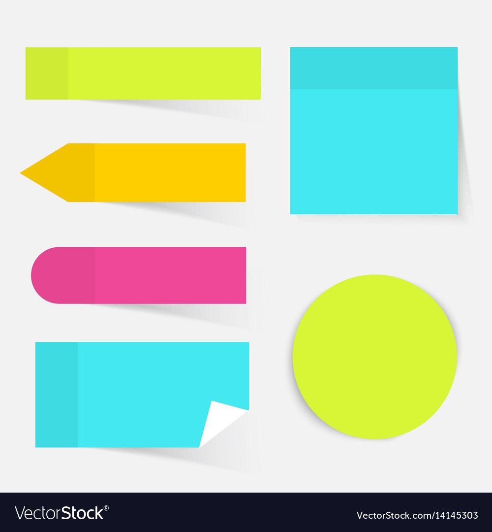 A colored set of sticky notes flat design modern
