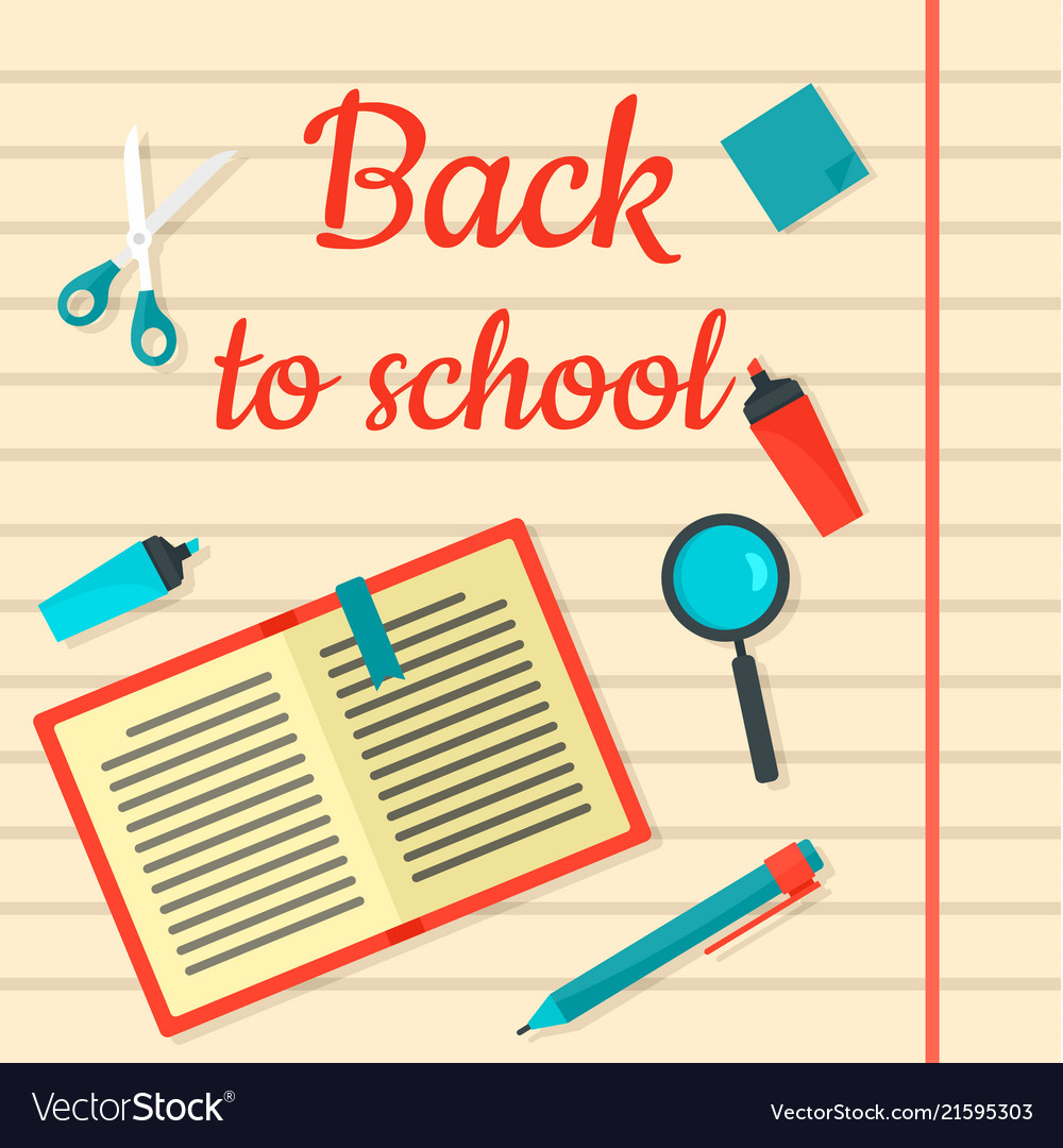 Back to school notebook background flat style