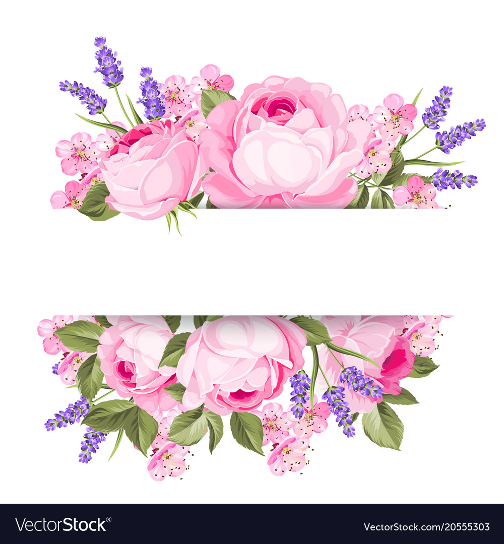 Blooming Spring Flowers Garland Royalty Free Vector Image