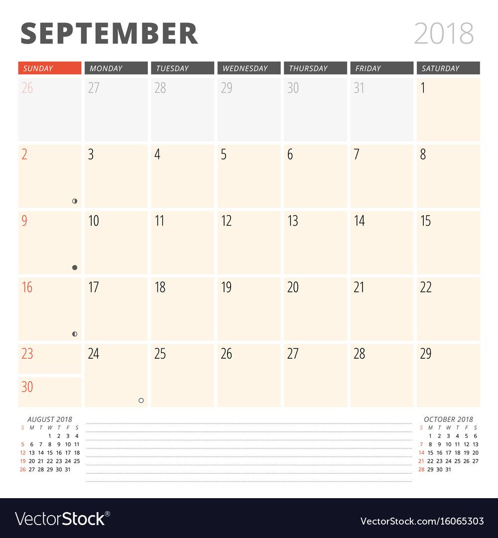 Calendar planner for september 2018 design