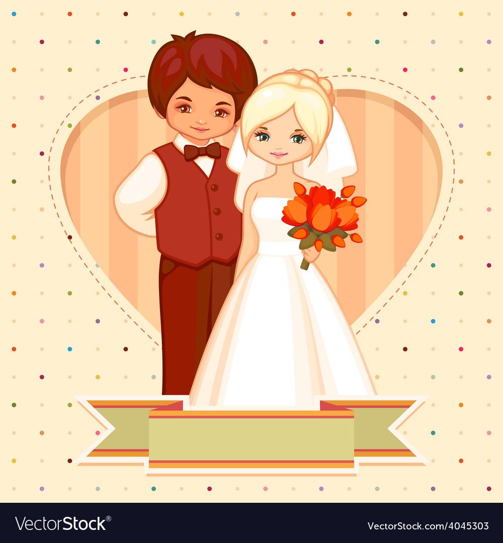 Cartoon Wedding Card Royalty Free Vector Image