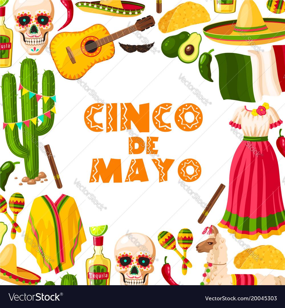 Cinco de mayo festive card of mexican fiesta party
