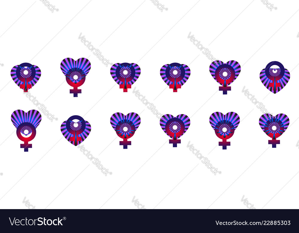 Creative striped heart with gender sign women for