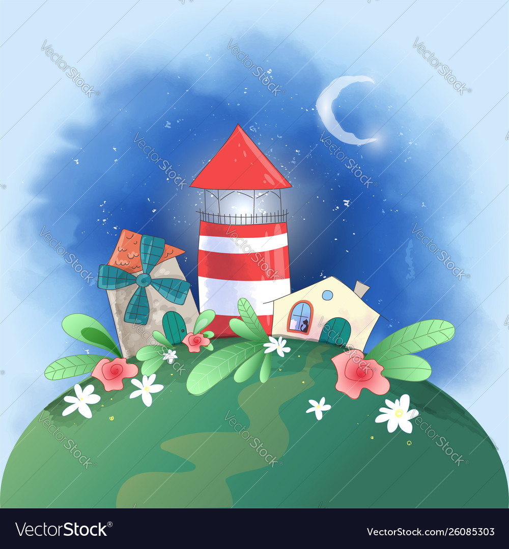 Cute cartoon small town lighthouse mill and house