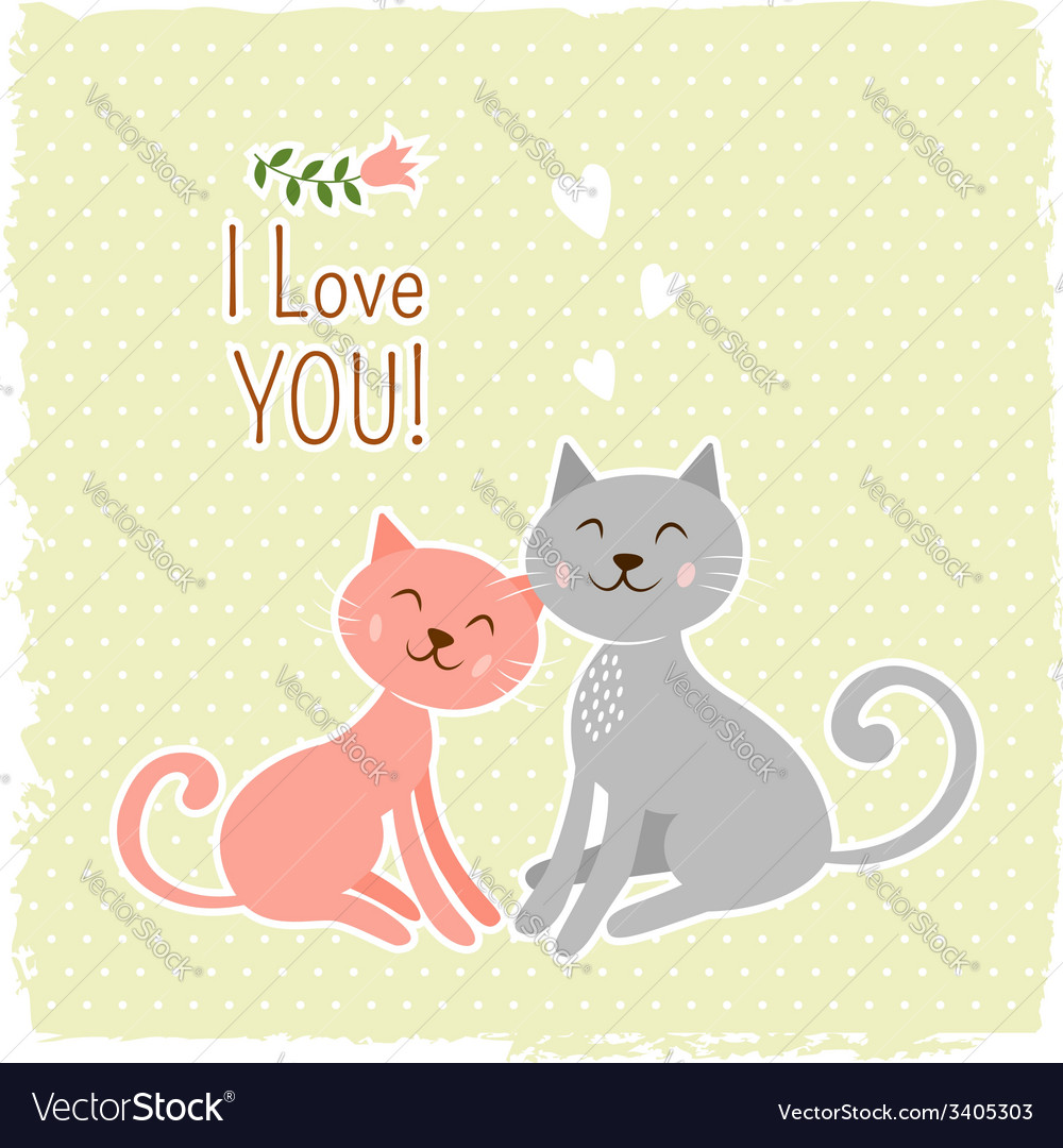 8505591bf56 Cute cats valentine card Royalty Free Vector Image