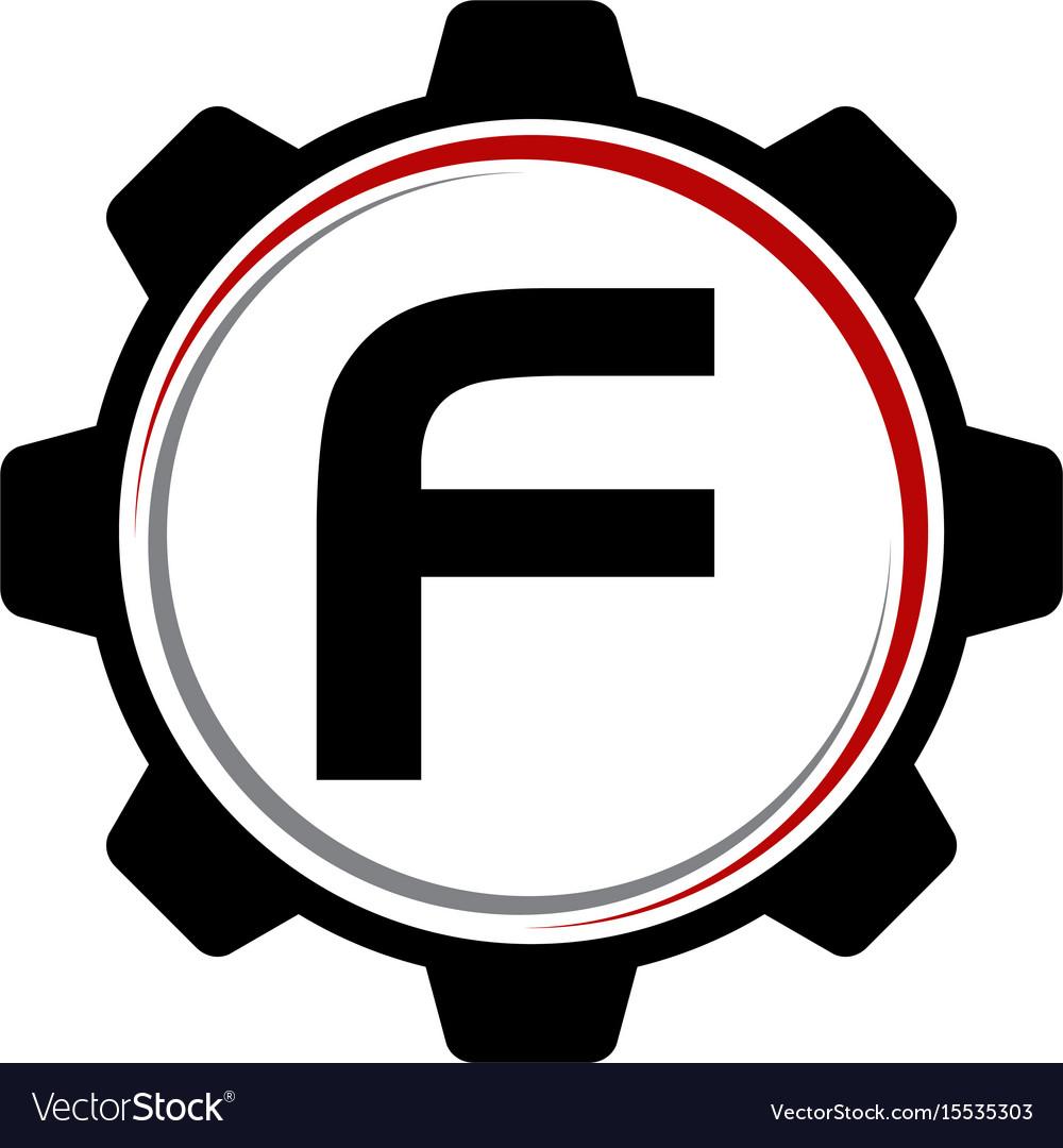 Gear solution logo letter f