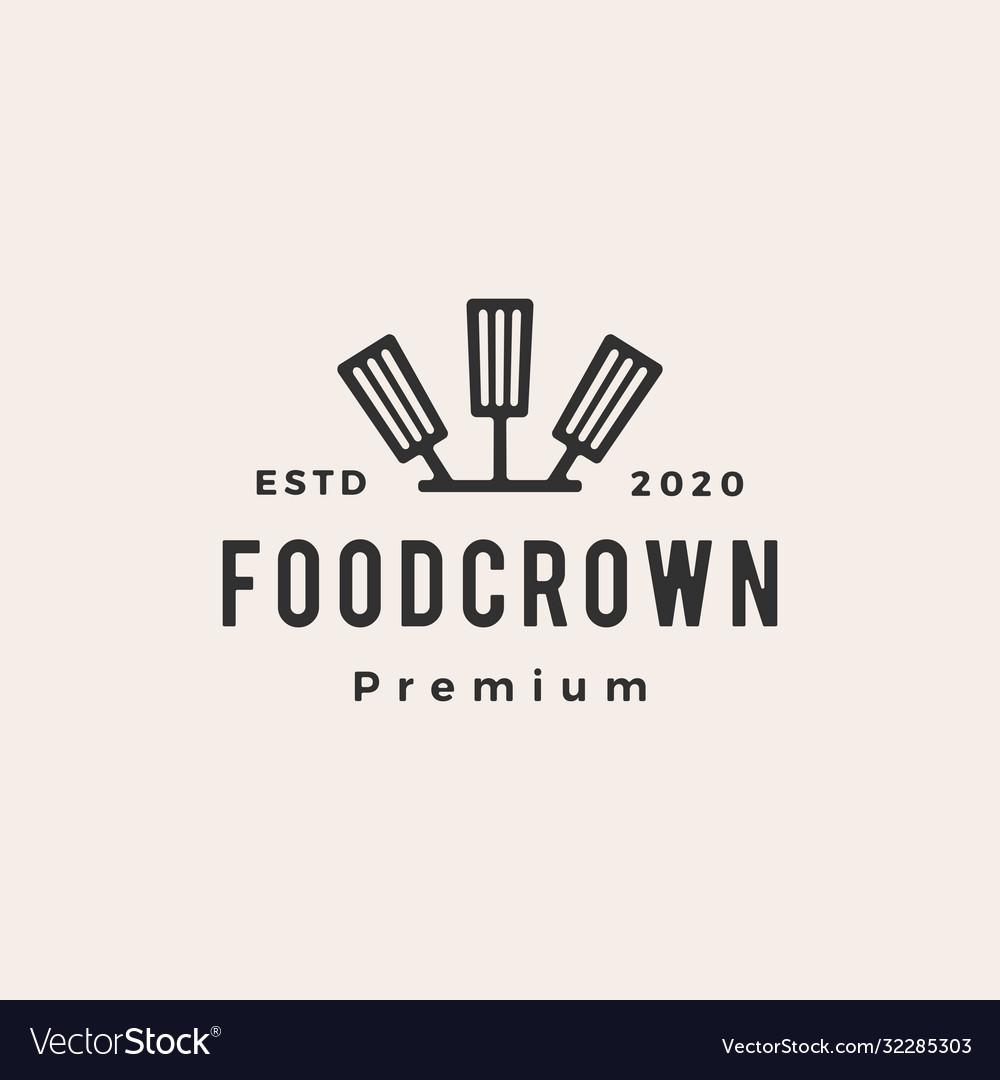 King crown spatula hipster vintage logo icon