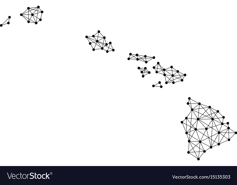Map Of Hawaii From Polygonal Black Lines And Dots Vector Image