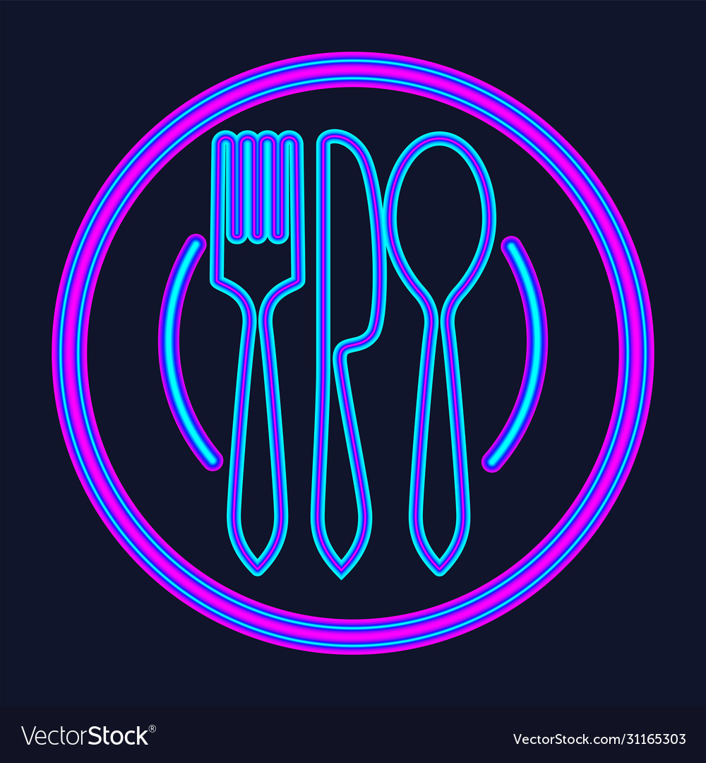Plate fork and knife neon sign meal and