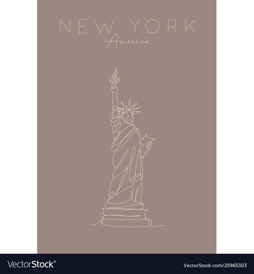 Poster new york statue liberty brown