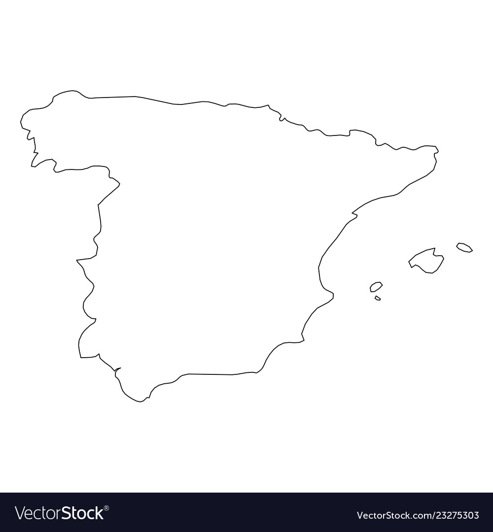 Map Of Spain Drawing.Spain Solid Black Outline Border Map Of Country Vector Image