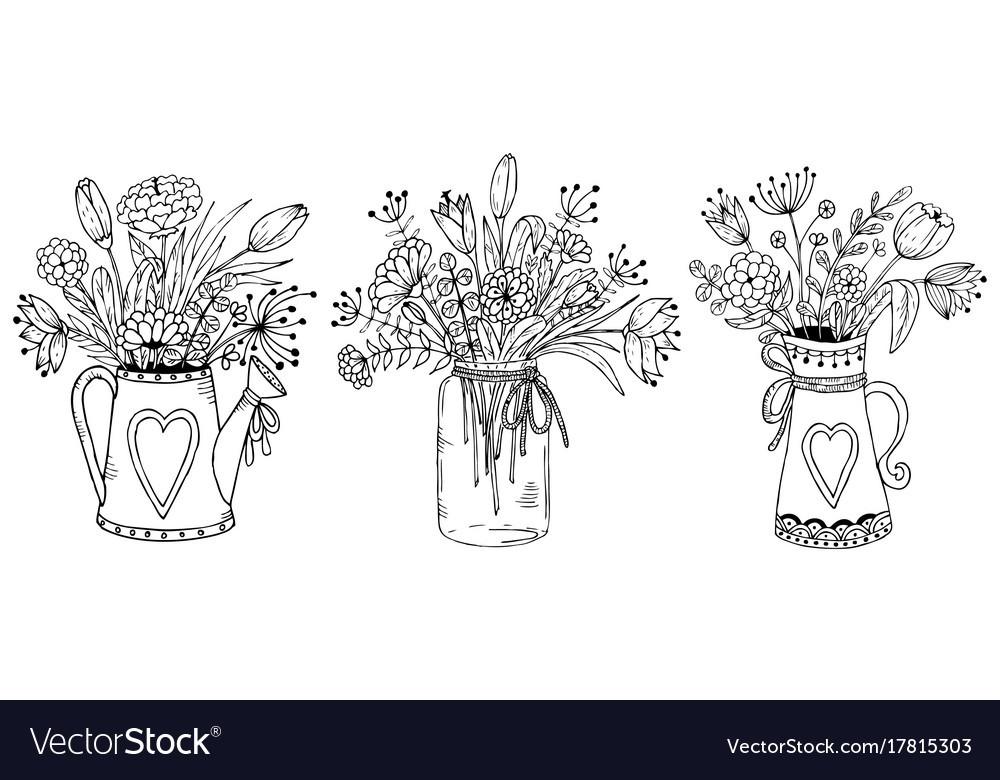 Three Vases With Floral Bouquets Royalty Free Vector Image