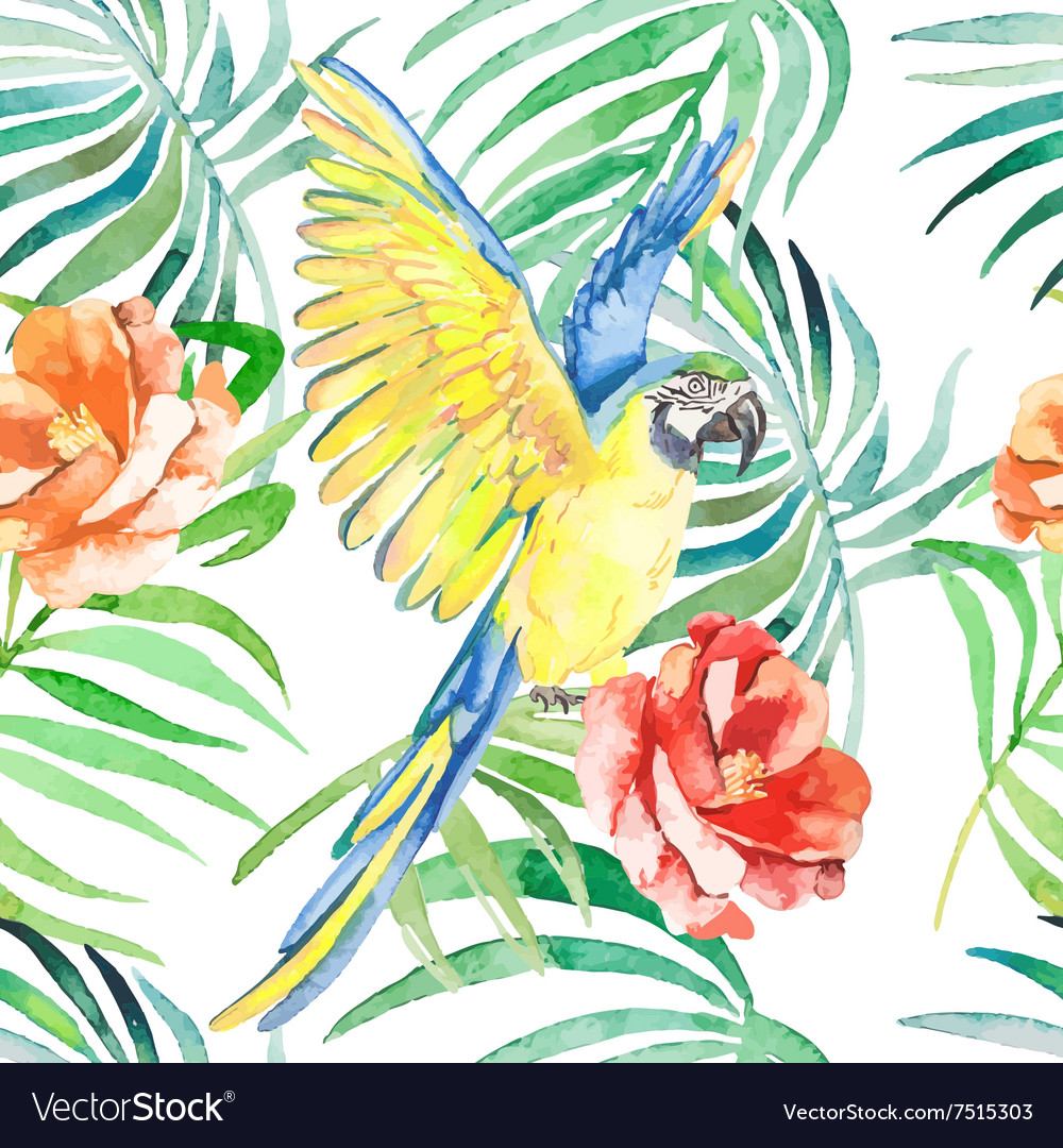 Tropical birds and plants seamless pattern
