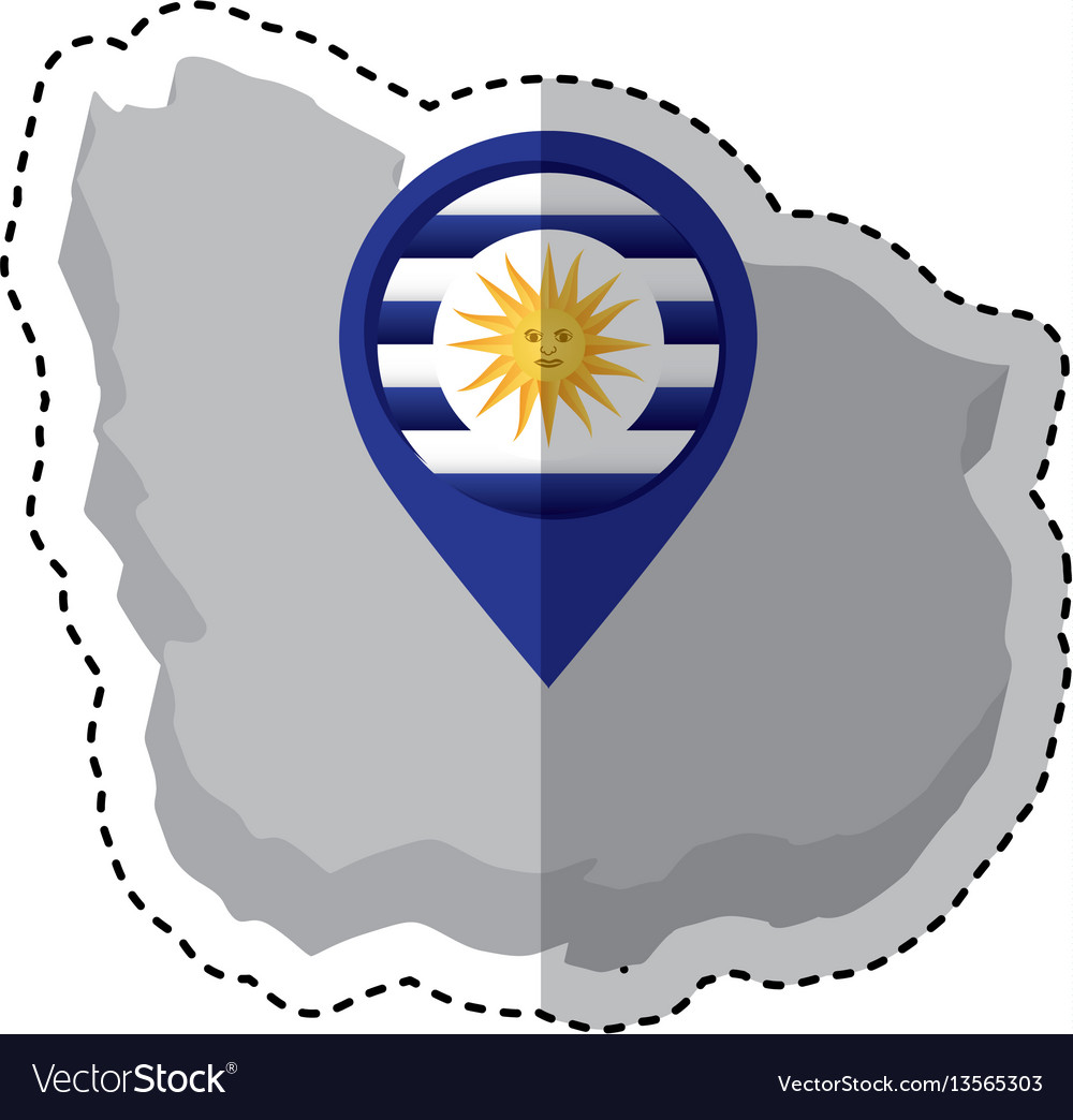 Uruguay map with sun icon
