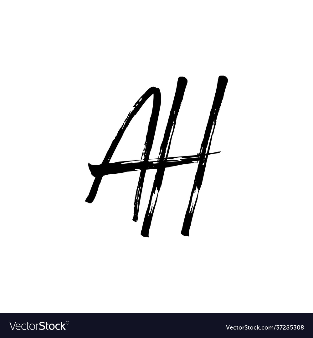 Ah letter mark ink brush stroke monogram logo icon