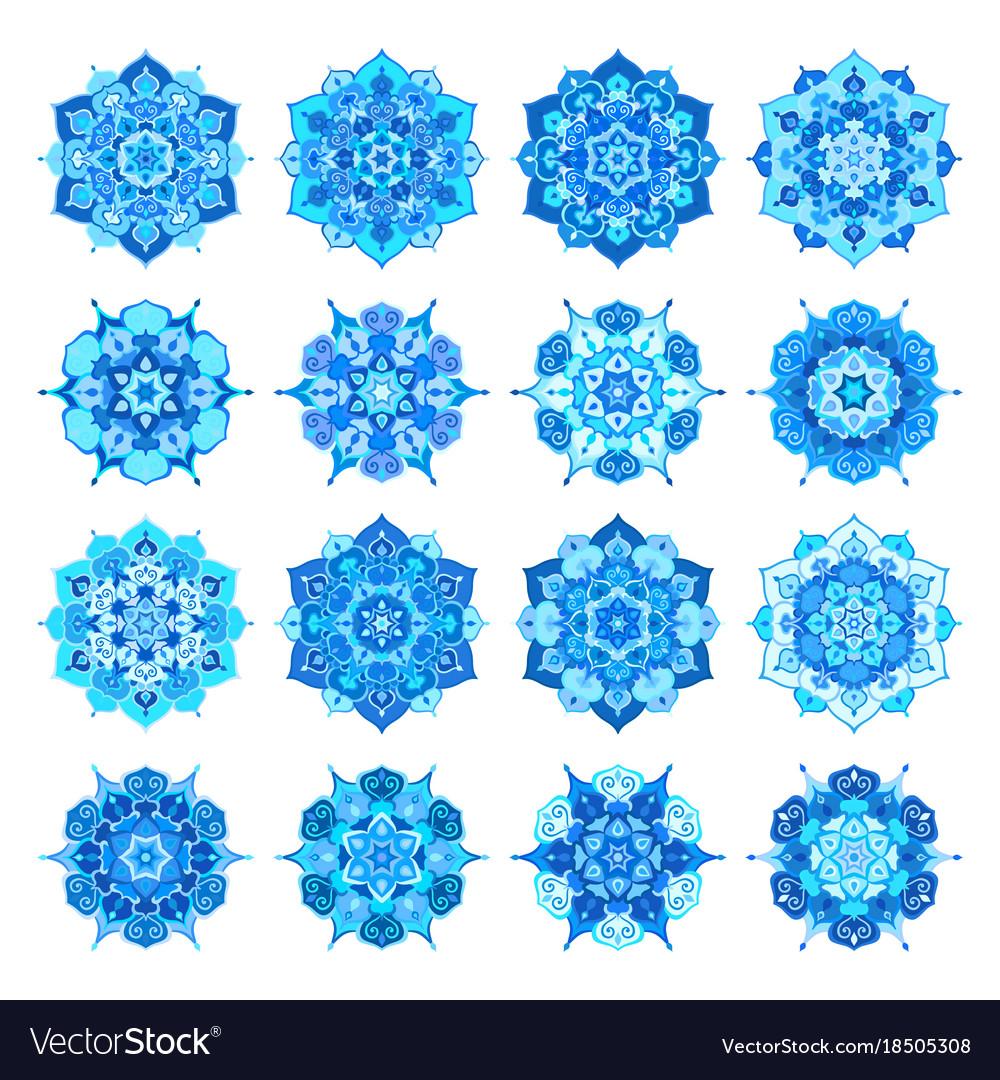 Blue snowflake flower mandalas