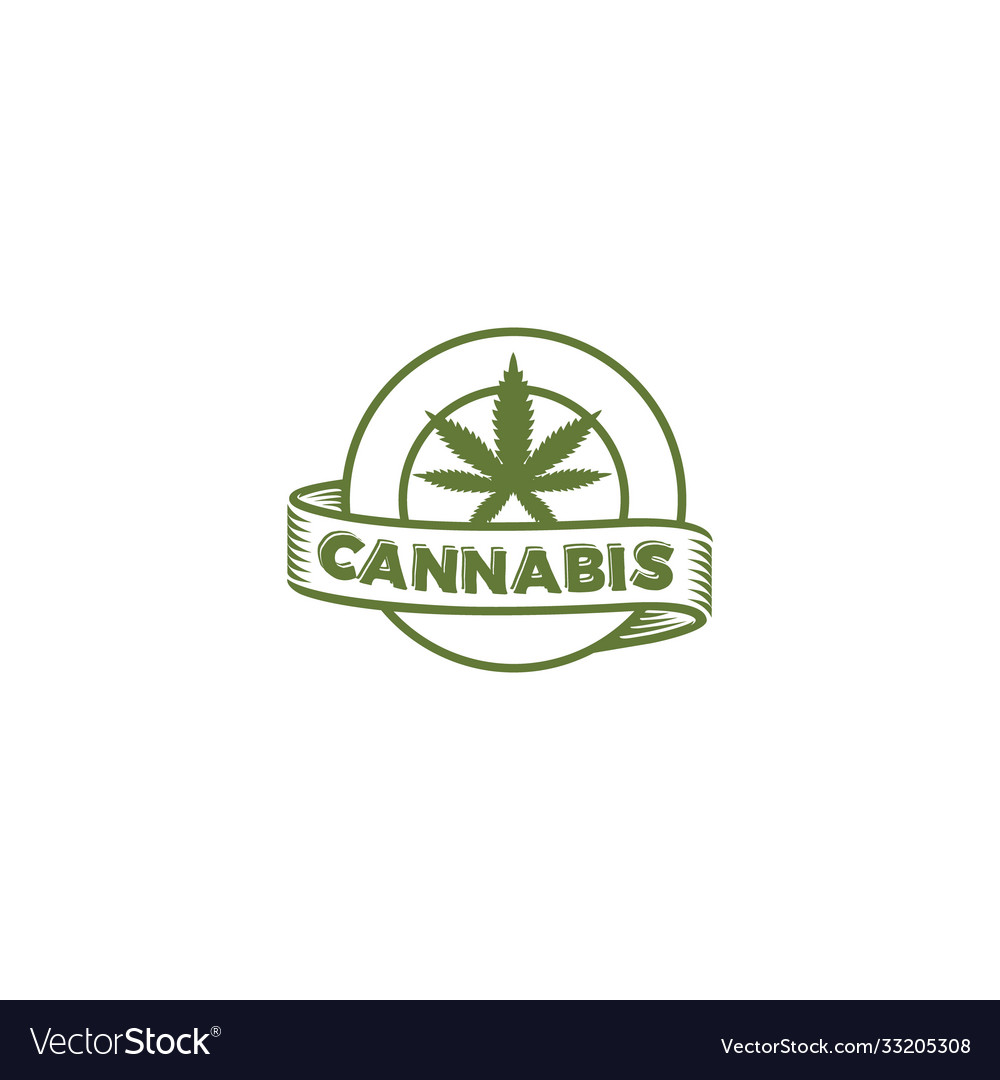 Cannabis circle emblem logo